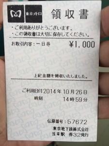 ใบเสร็จตั๋ว one day pass